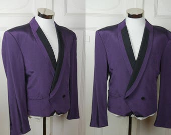 Cropped Tuxedo Jacket, European Vintage Purple Pointed-Front Double-Breasted Short Tuxedo Jacket: Large (40 US/UK)