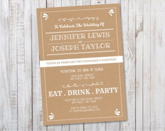 Rustic Wedding Invitation Printable / Kraft Wedding Invite PDF Template  Download   Design ID: 08