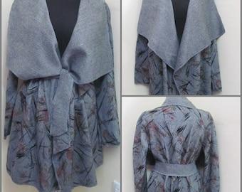 Gray cardigan, Flower cardigan, Autumn cardigan, Gray coat, Vintage cardigan,Vintage coat, Women's coat,  Women's cardigan, Cape
