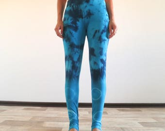 Blue leggings size M tie dyed leggings, pants, yoga pants, yoga leggings
