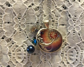 Sun and Moon Celestial Charm Necklace/Sun and Moon Necklace/Sun and Moon Pendant/Sun and Moon Jewelry/Celestial Jewelry
