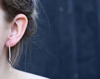 Snake Earrings, Wavy Stud Earrings, Sterling Silver Earrings, Silver Studs, Classic Earrings, Modern Jewellery, Minimalist Earrings JE0044