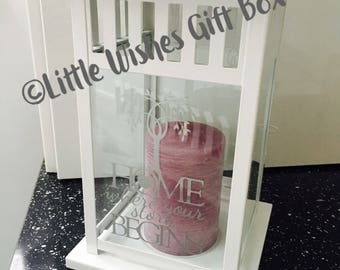 Personalised Lantern, Handmade candle lantern which makes an ideal new home / first home gift
