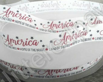 "7/8"" Patriotic Land of the Free Home of the Brave Grosgrain Ribbon"