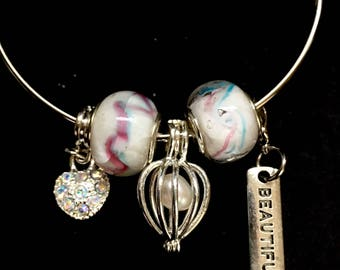 Open a Oyster, Free Pearl Oyster, Cotton Candy, Charm Bracelet, Pearl Cage, Large Pearls, Gifts For Her, Bangle Bracelet, Beautiful Jewelry