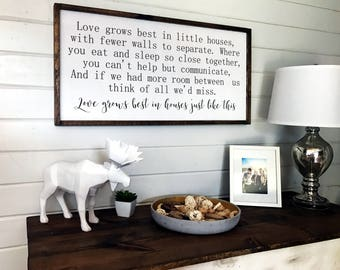 Love Grows Best in Little Houses Sign | Wooden Framed Sign | Family Room Sign | Wall Sign | Wood Signs | 2 ft by 4 ft
