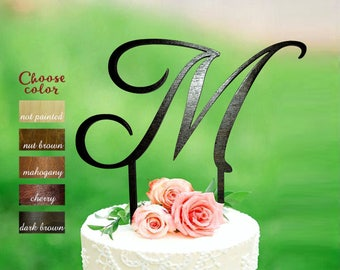 Letter m cake topper, cake toppers for wedding, wedding cake topper, monogram cake topper wedding, initial wooden, cake topper m, CT#189
