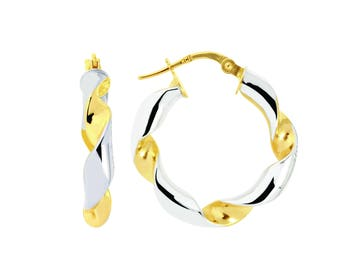 14K Yellow / White Gold Two-Tone Twisted Hoop Earrings