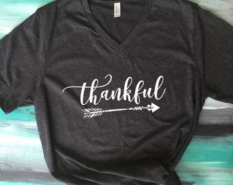 Thankful Arrow Shirt, Thankful Shirt, Thanksgiving Shirt, Grateful Thankful Blessed,