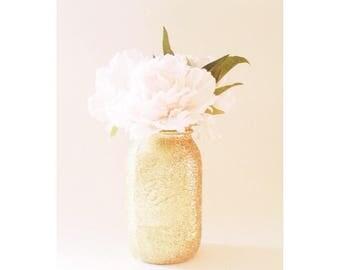 Glitter Mason Jar, Gold Mason Jar, Gold Centerpieces, Gold First Birthday