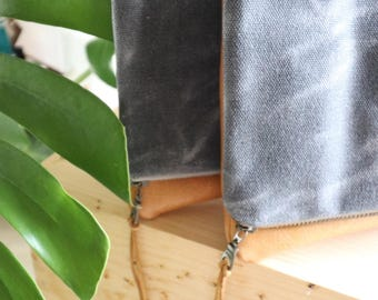 waxed canvas and leather clutch