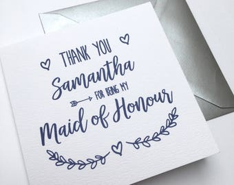 Personalised Wedding Day Thank You Bridesmaid Card | Best Man | Usher | Flower Girl | Evie Classic Range