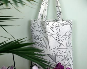 Tote cotton bag I Abstract triangles pattern