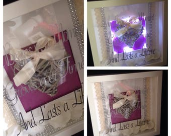 3d light up box frame /sign /plaque love begins in a moment & lasts a lifetime anniversary/ wedding gift
