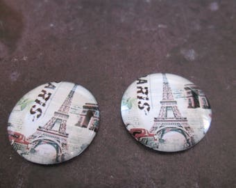 2 cabochons round glass 20 mm Eiffel Tower # 7