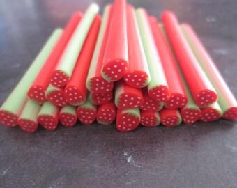 X 1 cane polymer clay Strawberry pattern #4 dimensions: 50 x 5 mm