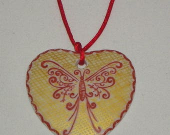Red and gold Butterfly pattern heart pendant