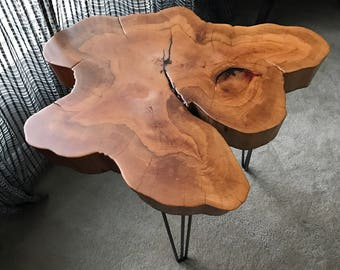 Live Edge, Unusual Shape Cypress Table Top With Hairpin Legs