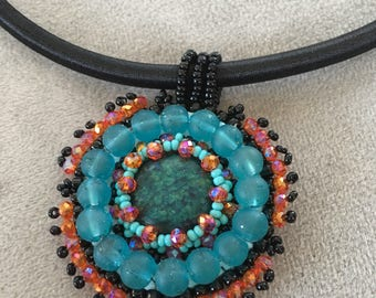 Bead Embroidery necklace. Turquoise and Orange bead embroidery pendant.