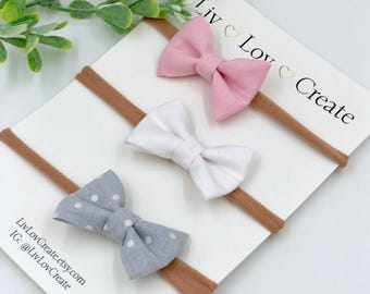 Baby Girl Bow headband or clip set of 3 - nylon - infant / toddlar / child bows - light gray polka dots - white - light pink