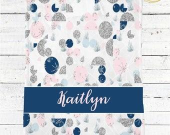 Geometric Baby Blanket / Geometric Baby Shower / Personalized Minky Baby Blanket Girl / Blue And Pink Baby Blanket / Custom Name Baby Gift