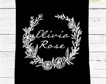 Black And White Baby Blanket Personalized / Modern Baby Blanket / Black And White Nursery Bedding / Personalized Baby Blanket Girl / Minky