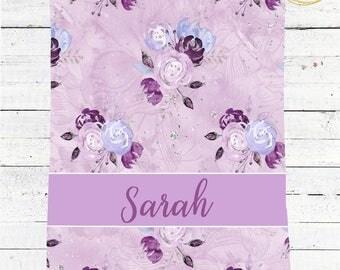 Purple Baby Blanket / Watercolor Floral Blanket / Lavender Baby Shower / Purple Baby Bedding / Whimsical Baby Shower / Glitter Baby Shower