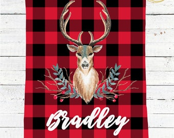Red Buffalo Plaid Blanket / Personalized Baby Blanket / Receiving Blanket Personalized / Buffalo Check Baby Blanket / Baby Shower Gift Boy