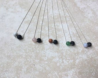 Crystal + Lava + Sterling silver Essential Oil Diffuser Necklace