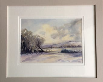 Snowy Scene, original watercolour, original art, snow, winter, watercolour painting, woodland painting, picture grey shades,