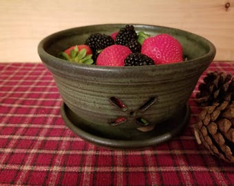 Slate green berry bowl, pottery berry bowl, pottery colander