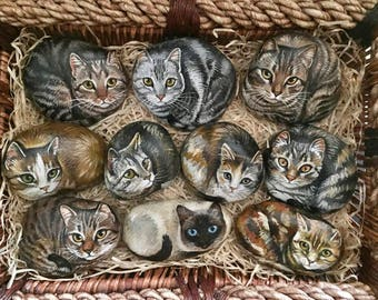 Painted Animals on Rocks - Cats - Painted Rocks