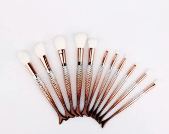 11pcs Gold Ombre Mermaid Tail Makeup Brushes