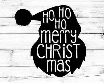 Christmas SVG - Png, Santa Silhouette Svg, Ho Ho Ho Merry Christmas Svg, Santa Svg, Svg Files, Cricut Svg, Svg Files for Cricut