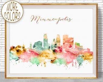 Minneapolis Print, Minneapolis Art Minneapolis Skyline, Minneapolis Minnesota, Office Wall Art Skyline Art, Cityscape Art, ArtPrintZone