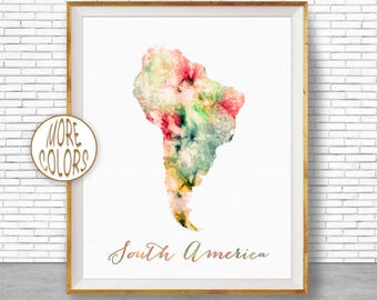 South America Map Map of South America South America Print Map Wall Art Print Travel Map Travel Decor Office Decor Office Wall Art