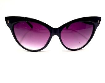 Black Cat Eye Sunglasses Vintage Sunglasses 50s Sunglasses Cats Eye Sunglasses Retro Sunglasses Hippie Sunglasses Beach Sunglasses 1950s