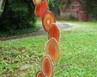 Natural Brazilian Suncatcher Agate Wind chimes burnt orange, agate wind chimes, rock wind chimes, stone wind chimes, sun catcher, smbowc5