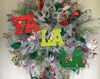 FA LA LA Deco Mesh Christmas Wreath