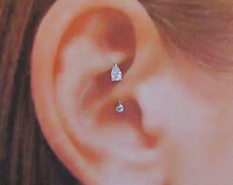 Daith Piercing Tear Drop Prung Set Curved Barbell..16g..8mm..3mm ball