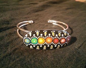 Bracelet stone painted 7 chakras