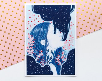 Cosmic Soul Illustration Print - Wall Art , Home Decor Print, Cosmic Illustration, Fashion Illustration, Soft Grunge Art, Galaxy Art