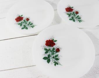 ARCOPAL Dinnerware, Set of 3 dinner plates, Arcopal dishes, Arcopal Plates, Retro Kitchen Decor, Anemones, Vintage kitchen, Arcopal France