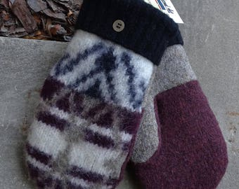 Wool mittens made from recycled upcycled sweaters lined with fleece womens white tan red black soft warm