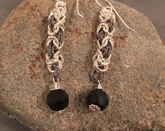Sterling Silver and Black Sterling Byzantine Chainmaille earrings with black onyx dangle