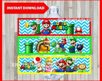 Printable Mario Bros Water Bottle labels instant download, Mario Bros party bottle labels, Printable Mario Bros Bottle labels
