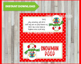 Adaptable image for snowman poop printable bag topper
