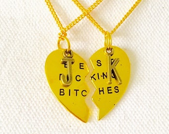 "Mature-Gold Best F*cking B*tches BFF 28"" necklaces with initials."