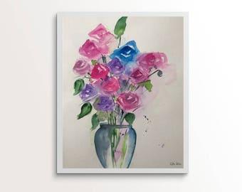 Original watercolor painting paintings art roses bouquet Flowers Watercolor Roses