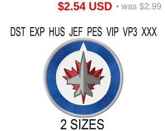 TODAY SALE 15% Winnipeg Jets logo embroidery design / embroidery designs / INSTANT download machine embroidery pattern